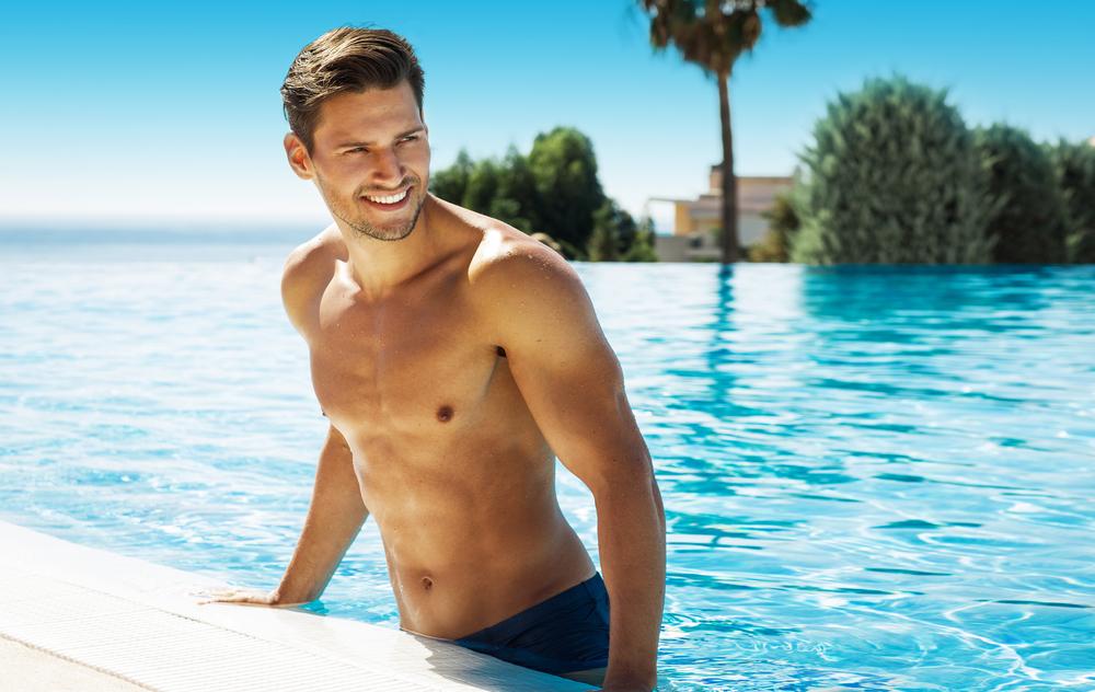 man in pool looking away